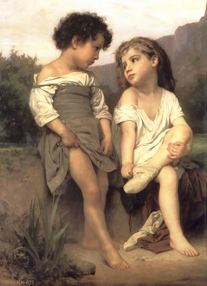 William-Adolphe_Bouguereau_(1825-1905)_-_At_the_Edge_of_the_Brook_(1879) Wikipédia
